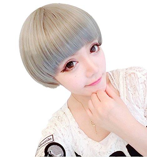 Nuoqi Womens Bob Short Harajuku Wig Seal Gray