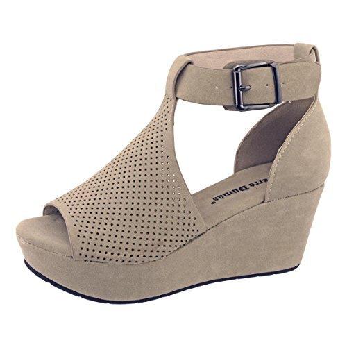 Pierre Dumas Natural-4 Women's Cutout Open-Toe Ankle Strap Platform Wedge Sandals,Nude,10