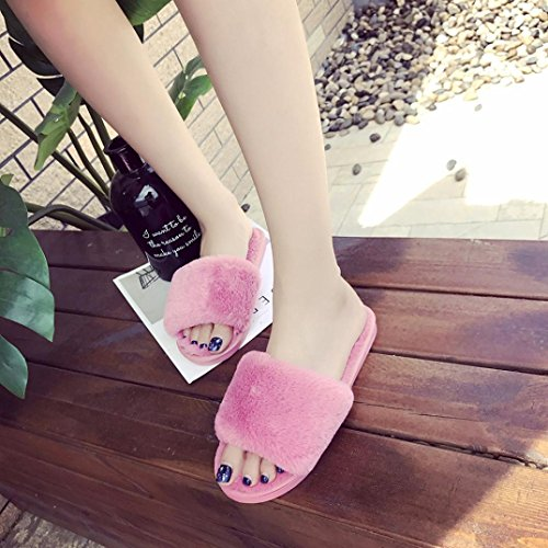 DEESEE Hot On Fur Faux TM Sliders Flop Pink Slip Flip Slipper Fluffy Ladies Womens Flat Sandal rrxq6a