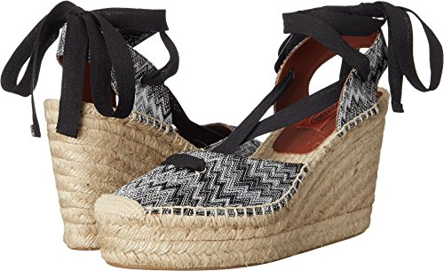 Ribbon Espadrille Sandals (Missoni Women's Ribbon Wedge Espadrille, Nero/Bianco, 41 M)