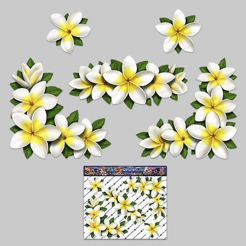 FLOWER Frangipani Plumeria Small Corners White Decal Car Stickers - ST00045WT_LGE - JAS Stickers