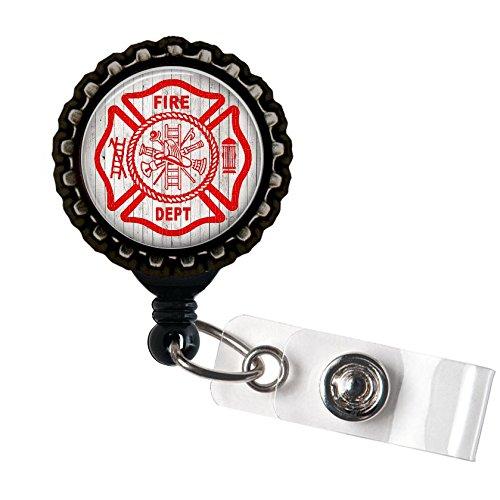 Firefighter Love - Paramedic - Black Retractable Badge Reel ID Holder (Firefighter Badges)