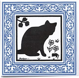 product image for CAT Tile - CAT Wall Plaque - CAT TRIVETS with Victorian Border