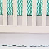 Oliver B White Crib Skirt with Turquoise Scallop Trim