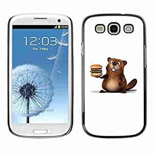 Planetar® ( Friendly Beaver Burger ) Fundas Cover Cubre Hard Case Cover Samsung Galaxy S3 III / i9300 i717