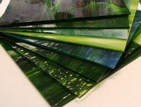 6″x8″ Green Variety Stained Glass Pack