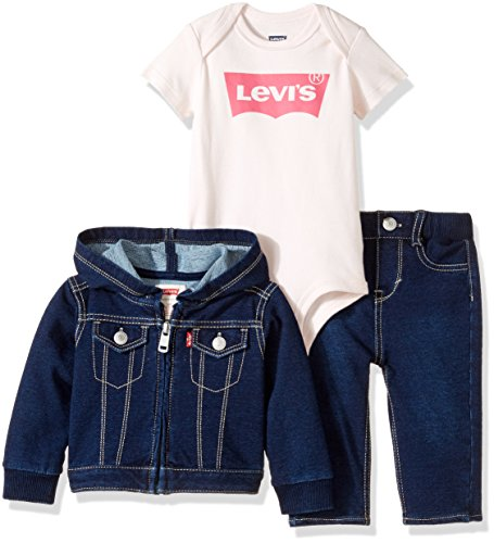Levi's Girls' Knit Denim Trucker Jacket, Indigo Night, 0/6M (Baby Levi Jeans Girls)