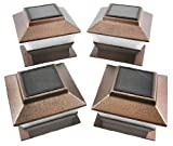 Set of 4 Bronze Finish Solar Power Light for 4 x 4 Deck & Post Cap by Garden Sunlight