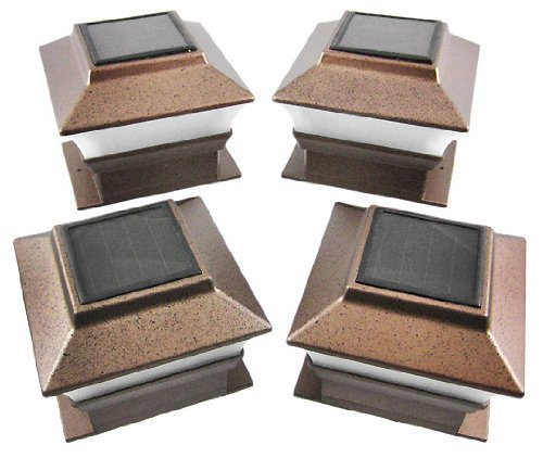 Set of 4 Bronze Finish Solar Power Light for 4 x 4 Deck & Post Cap by Garden Sunlight by Garden Sunlight