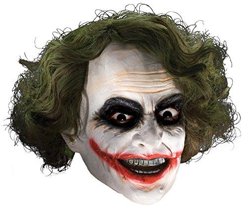 Joker Mask Dark Knight (Rubie's Costume Co Men's Batman The Dark Knight The Joker Adult 3/4 Mask with Hair, Multi, One Size)