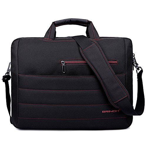 BRINCH 17.3 Inch Nylon Shockproof Laptop Case Messenger Bag for 17-17.3 Inch Laptop/Notebook/MacBook/Ultrabook with Shoulder Strap Handles and Various Pockets (Black - Red)