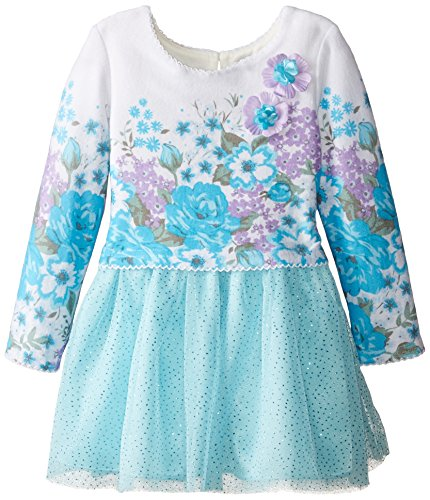 Sweet Heart Rose Little Girls' Border Floral Print Brushed Sweater Knit Dress and Mesh Skirt, Ivory/Teal, 2
