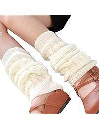 Knit Winter Warm Leg Warmers Long Socks Boot Cuffs Topper Legging Pads Knee Brace Pads Knee Warmers Sleeve for Women Lady Girls Best Xmas Gift (White)