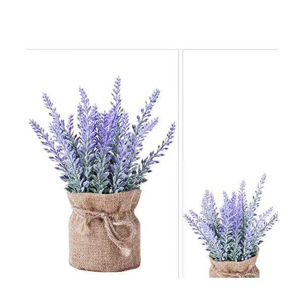 YAPASPT-2-Pack-Small-Burlap-Potted-Lavender-Flowers-Artificial-Fake-Flower-and-Plant-Flocked-Charming-Purple-for-Warm-and-Loving-Home-or-Venue-Decor
