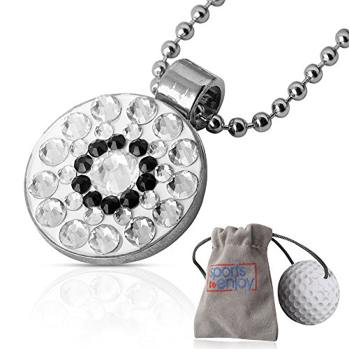 lifetoenjoy Golf Ball Marker Necklace for Women - Bonus: Velvet Pouch for safekeeping - Always Have Your Marker Easily Available - Beautiful Bling Clear Crystals -with Super Strong Magnet