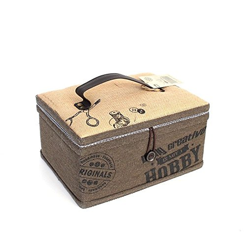 PRYM Sewing + Craft Vintage Hand Printed Creative All-in-1 Canvas Sewing Basket