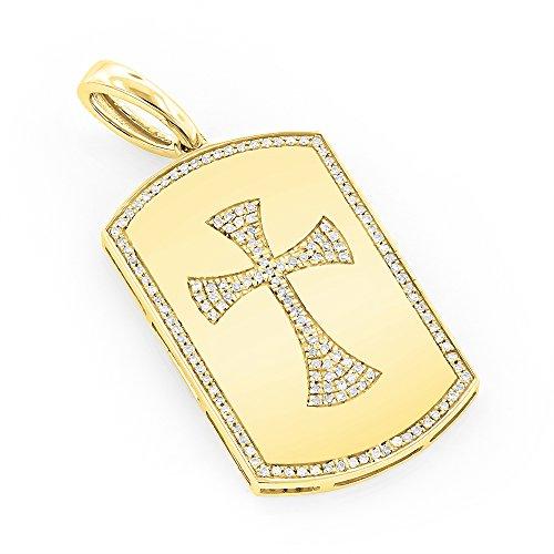 Luxurman 14K Nautral 0.33 Ctw Diamond Unique Dog Tag Pendant With Celtic Cross (Yellow (Yellow Gold Diamond Heart Tag)
