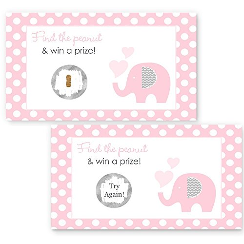 Pink Elephant Scratch-Off Game Girls Baby Shower Polka-Dots with Grey 28pc. Set ()