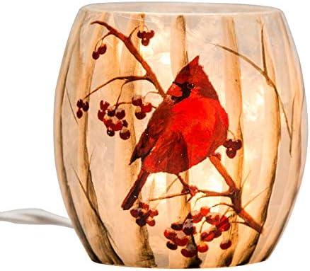 Stony Creek 3 Birch and Cardinals Lighted Glass Jar, BTC7252A Cardinal