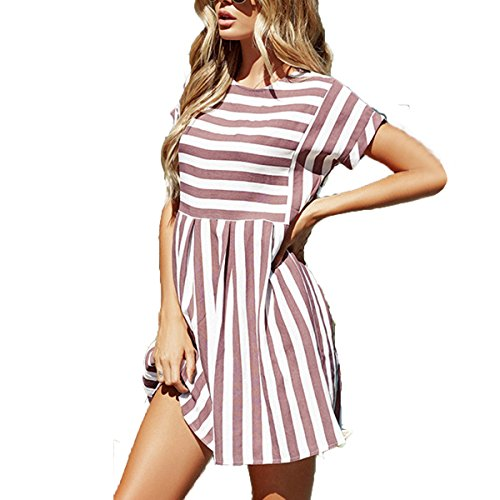 ChongXiao Women Stiped Dress Casual Cute Short Sleeve O-Neck Mini Summer Dresses for Women (Brown, M) by ChongXiao