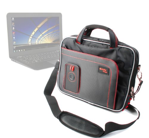 DURAGADGET Black/Red Water Resistant Protective Notebook Carry Case/Briefcase With Adjustable Shoulder Strap & Multiple Storage Pockets For Gigabyte X11, Acer Aspire 11.6