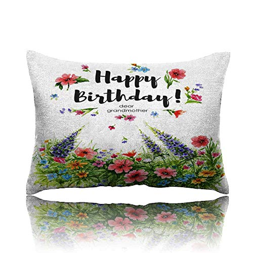 """Travel Pillow Watercolor Greeting Card Happy Birthday Dear Grandmother with Flower Lawn and Lettering in Flower frame1 Memory Foam Pillow 13""""x18"""""""