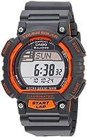 Casio Men's STLS100H-4AV Solar Powered Runner's Watch, Black with Orange Accents