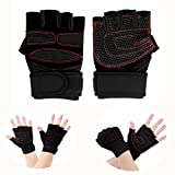 Itian Weight Lifting Gloves, Fitness Sports Gym Gloves for Men / Women,Half Finger Skid Resistance Breathable Biking Bicycle Gloves for Exercise, Outdoor Sports, Riding Racing Equipment (Red and Black)