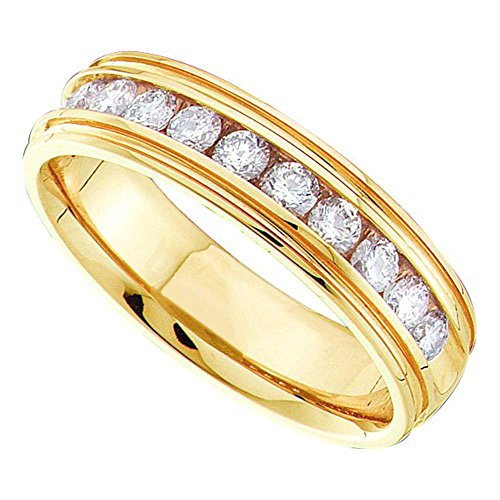 (14kt Yellow Gold Mens Round Channel-set Diamond Ridged Edges Wedding Band 1/4 Cttw)