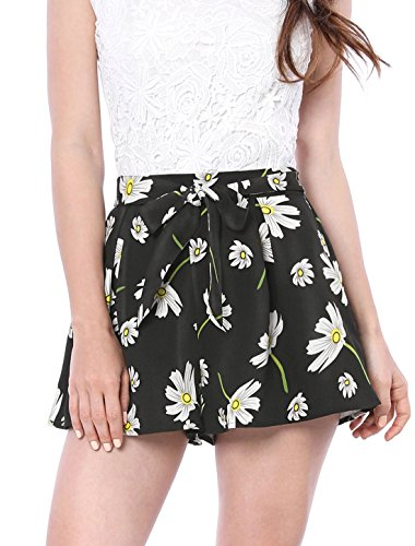 Allegra K Women's Self-tie Elastic Waist Floral Print A-line Shorts S Black