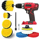 Drill Brush Attachment Set All Purpose Power Drill Attachments, Power Scrubber Brush Cleaning Kit for Cleaning Grout, Tile, Counter, Shower, Floor, Kitchen, Fits Most Drills (9 in 1- Yellow)