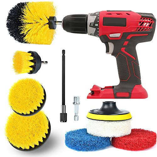 (Drill Brush Attachment Set All Purpose Power Drill Attachments, Power Scrubber Brush Cleaning Kit for Cleaning Grout, Tile, Counter, Shower, Floor, Kitchen, Fits Most Drills (9 in 1- Yellow))