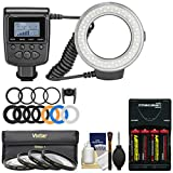 Precision Design 130 Universal Macro LED Ring Light & Flash with Colored Diffusers with Close-Up Filter Set (67mm) + Batteries & Charger + Kit