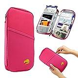 GEARONIC TM Travel Passport Organizer Wallet Purse Holder Trip Case Document Credit ID Card Cash Bag - Hot Pink