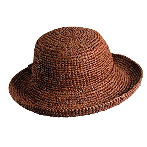 Scala Collezione Crocheted Organic Raffia Sun HAT 3 INCH Brim (LR545) (Rust) ()
