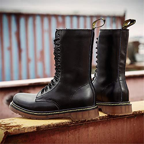 Hiver Noir Chaudes En Tqgold Homme Chaussures Botte Impermeables Classiques Bottes Bottines Boots Fourrées Combat Plates Lacets Cuir Femme De EEqUawFg