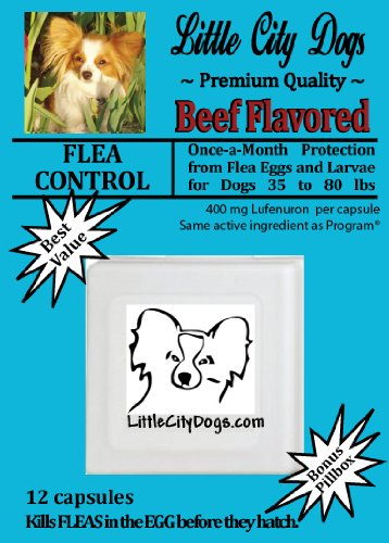 Little City Dogs once-a-month FLEA CONTROL Capsules for Dogs 35 to 80 lbs – TWELVE 400 mg Lufenuron Capsules …Same Active Ingredient As Program® – a full year of protection from flea eggs and larvae, My Pet Supplies