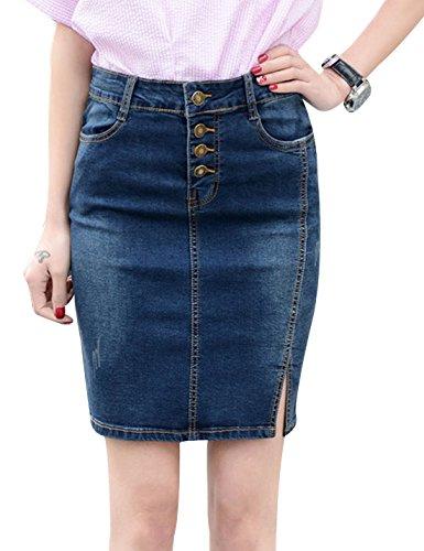 (Yeokou Women's Side Split Stretch Denim Jean Bodycon Mini Short Pencil Skirt XXL (Large, Blue-001))