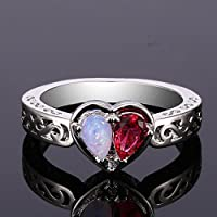 LALISA Ruby Double Half Heart Red Fire Opal Rings Women 925 Silver Plated Jewelry Ring (9)