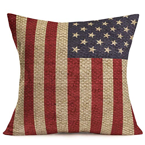 Asminifor Throw Pillow Covers Patriotic American Flag July 4th Decorative Pillow Covers Stars & Stripes Vintage USA Flag Cotton Linen Burlap Pillow Cases Cushion Covers Square 18 x 18 Inch (VL08)]()