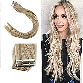 Youngsee 55 Cm Extensions Echthaar Tape Blond Gestrahnt 18 613 Tape On Extensions 100 Remy Echthaar Haarverlangerung Blond 20pcs 50g