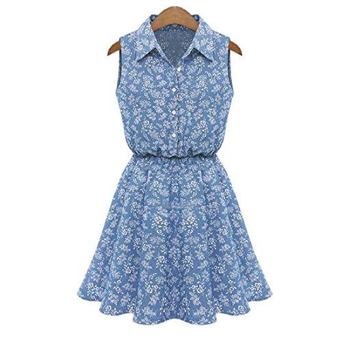 GONKOMA Women Sleeveless Casual Slim Denim Dress Lady Summer Fashion Dress (S, - Lace Up Trim Skirt Denim