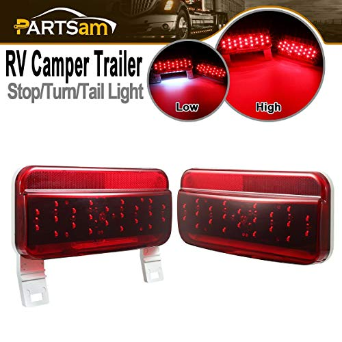 (Partsam Rectangular Red LED RV Camper Trailer Stop Turn Brake Tail Lights White License Plate Light Kit 49 LED with White Base Waterproof 12V Sealed with Reflex Lens Surface Mount)
