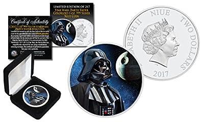 2017 NZM 1 oz Pure Silver BU Star Wars DARTH VADER Coin with DEATH STAR Backdrop