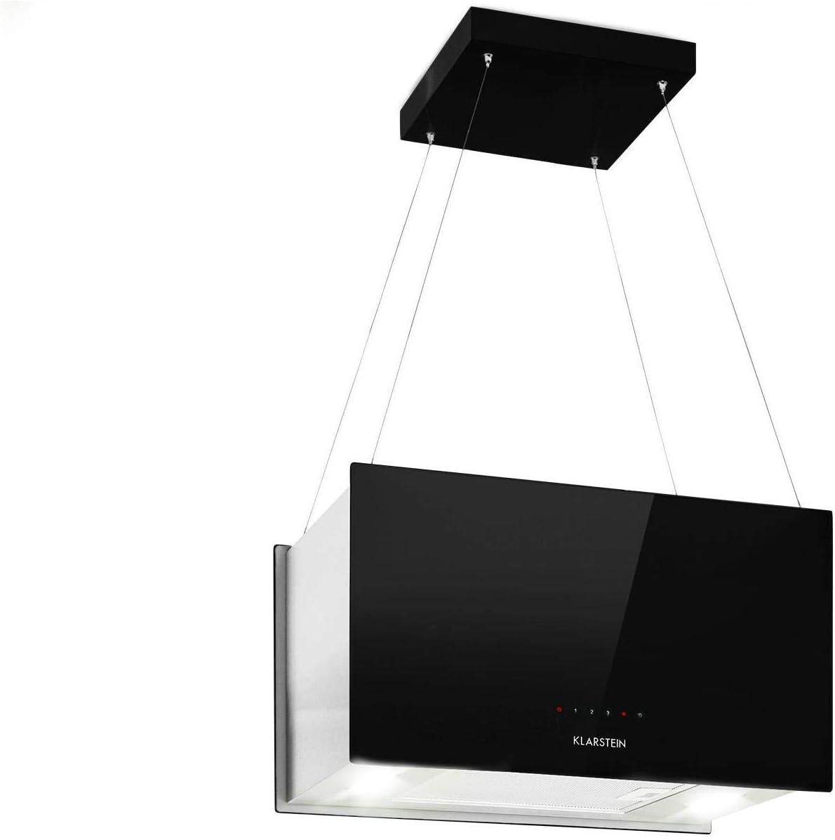 Klarstein Kronleuchter L - Campana extractora 60 cm, Extractor tipo isla, Campana de techo, Caudal de aire hasta 590 m³/h, 3 niveles, LED, Cristal espejado, Clase energética A, Negro
