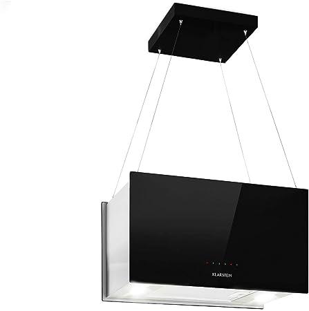 Klarstein Kronleuchter - Campana extractora en isla, Flujo aire hasta 600 m³/h, Iluminación LED, Eficiencia energética Clase A, 3 niveles, Filtro grasa, Control táctil, 60 x 35 x 35 cm, Negro: Amazon.es: Hogar