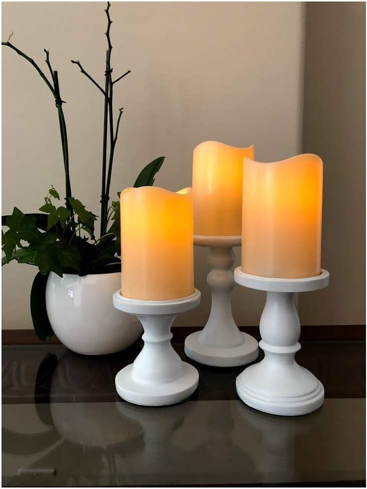 The Nifty Nook I Flamless LED Candles Holder I Set of 3 I Home Decor White