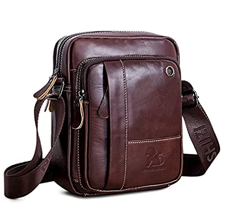 890f51b72355e0 BAIGIO Borsello Uomo Pelle Marrone Borsa a Tracolla Vintage Borsa a Spalla  Piccola Crossbody Bag Casual