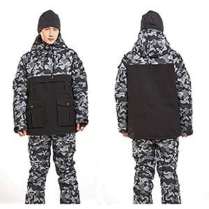 SSFFHMZZ Vêtements de Snowboard pour Hommes et Femmes Correspondant à la Combinaison de Couleur épaississante matelassée imperméable à l'eau Double Planche vêtements de Ski pour Hommes Costume L Code