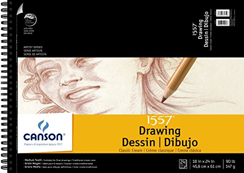 Canson Artist Series 1557 Cream Drawing Paper Pad for Pen, Ink and Graphite Pencil, Top Wire Bound, 90 Pound, 18 x 24 Inch, Cream, 24 - Canson Drawing Paper